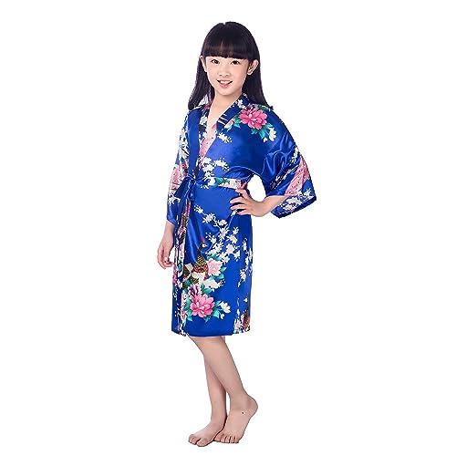 b3f5c423ac Child s Satin Kimono Robes for Girls Sleepwear Peacock Flower Robe for Spa  Wedding Birthday Gift