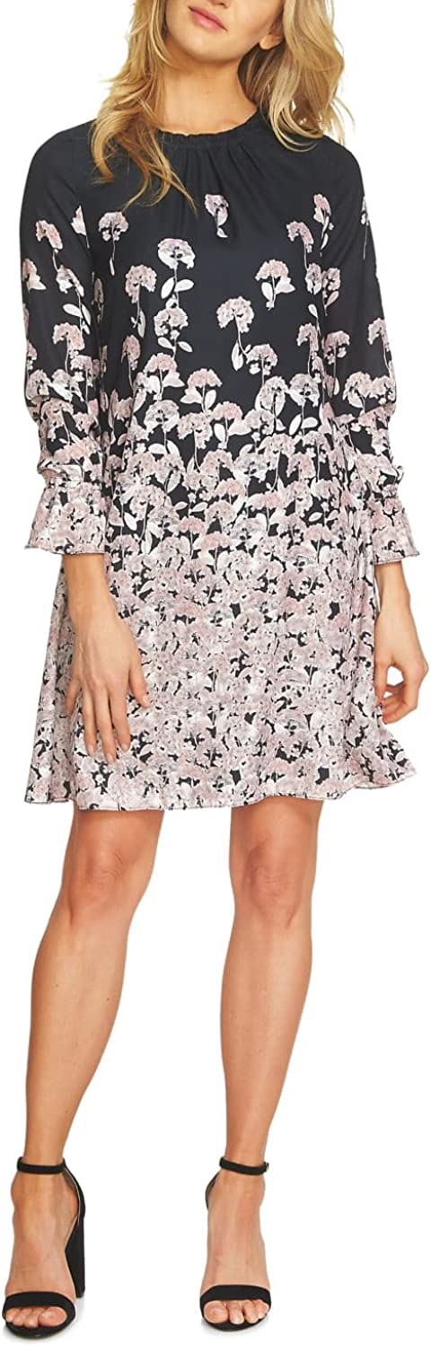 CeCe Womens Wisteria Fields Border Ruched Neck Dress