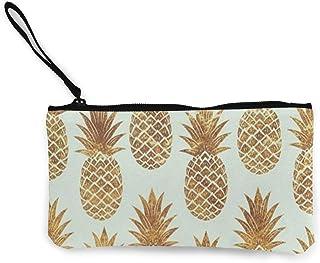 Zip Wallet,Cartera Dorada De Lona con Diseño De Piña, Bolsos De Cremallera Premium para Cumpleaños De Vacaciones De Boda,22(L) x12(W) cm