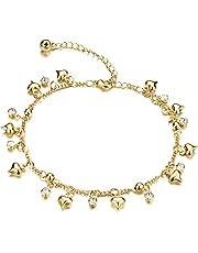 Richapex 18金ゴールドフィルド ハート チャーム チェーン アンクレット 鈴 Bell プレゼント 自分へのご褒美に 足元 ジュエリー キラキラチェーンアンクレット ゴールド