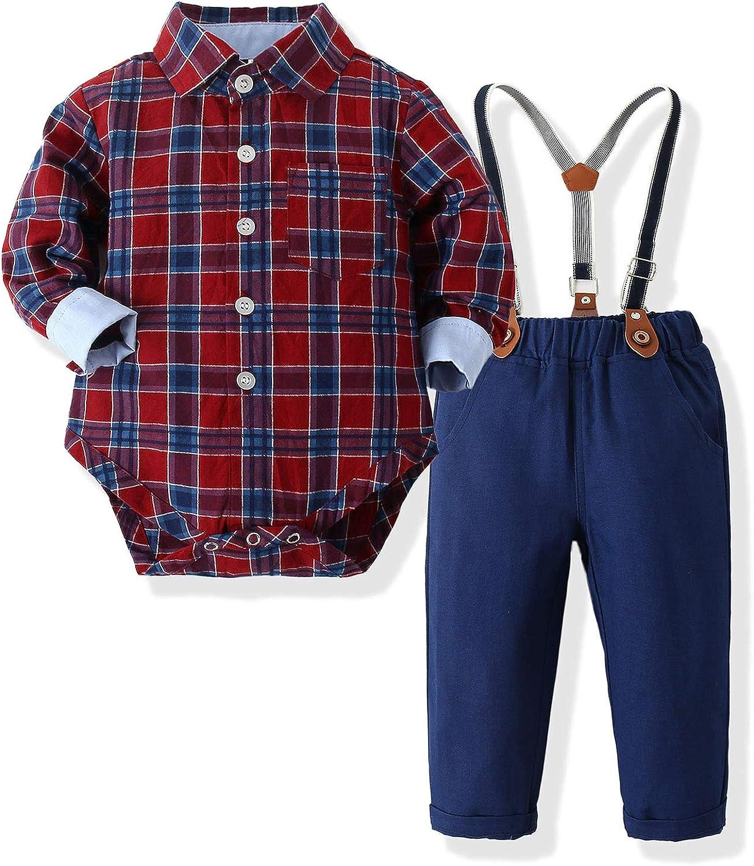 Kimocat Fashion Max 78% OFF Toddler Boy Clothing Sets Stra Plaid and Suspender Shirt