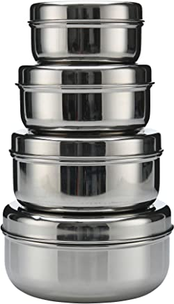18/8 Stainless Steel 4-pack nesting Lunch Box and food storage container set - Eco friendly,  Dishwasher Safe,  BPA free,  Great for snacks,  food storage or leftovers (10oz - 30oz)