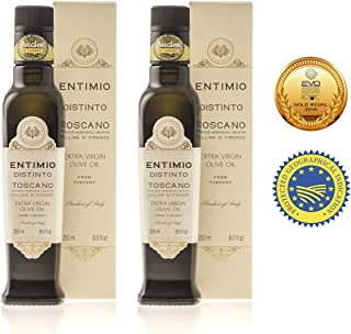 Entimio Distinto | Medium Olive Oil Extra Virgin IGP Toscano | 2018 Harvest Italian Olive Oil from Italy, Tuscany, 2019 Gold Award | First Cold Pressed, Rich in Antioxidants | 16.9 (2 x 8.5) fl oz