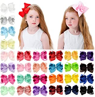 28pcs 6 Inches Grosgrain Ribbon Hair Bows Large Hair Bows Alligator Clips Hair Accessories for Baby Girls Toddlers Teens