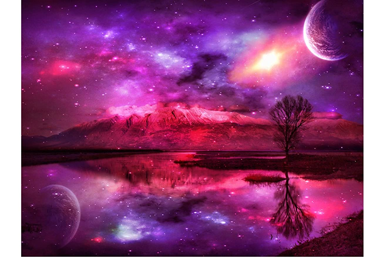 Mobicus DIY Diamond Painting,by Number Kits Crafts & Sewing Cross Stitch,Wall Stickers for Living Room Decoration,Purple Sky(14X16inch/35X40CM)