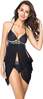 Womens Padded Push-up Tankini Bikini Set Two Pieces Bathing Suits Swimwear