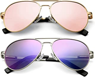 DeBuff Kids Polarized Aviator Sunglasses for Boys Girls Age 5-18, Adult Small Face 52MM (2 PACK,(Gold/Pink Mirrored, Silver/Purple Mirrored) )
