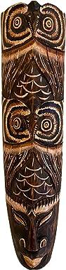 "African Mask Wall Hanging Decor Good Luck Protection Tiki Tribal Wood Mask - Owl Mask - (20"" Large)"