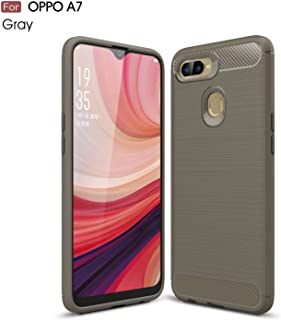 TiHen Case Oppo A73, Case Shockproof Silicone Carbon Fiber Texture Light Brushed Grip Case 360° Protective Case Cover for Oppo A73 Grey + Free Screen Protector