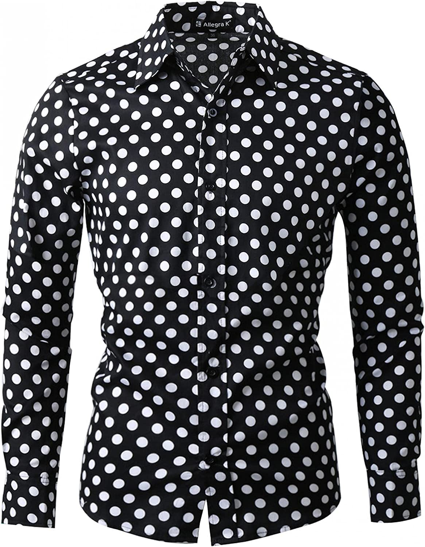 uxcell Men's Shirts Polka Dots Long Sleeve Slim Fit Printed Dress Button Down Shirt