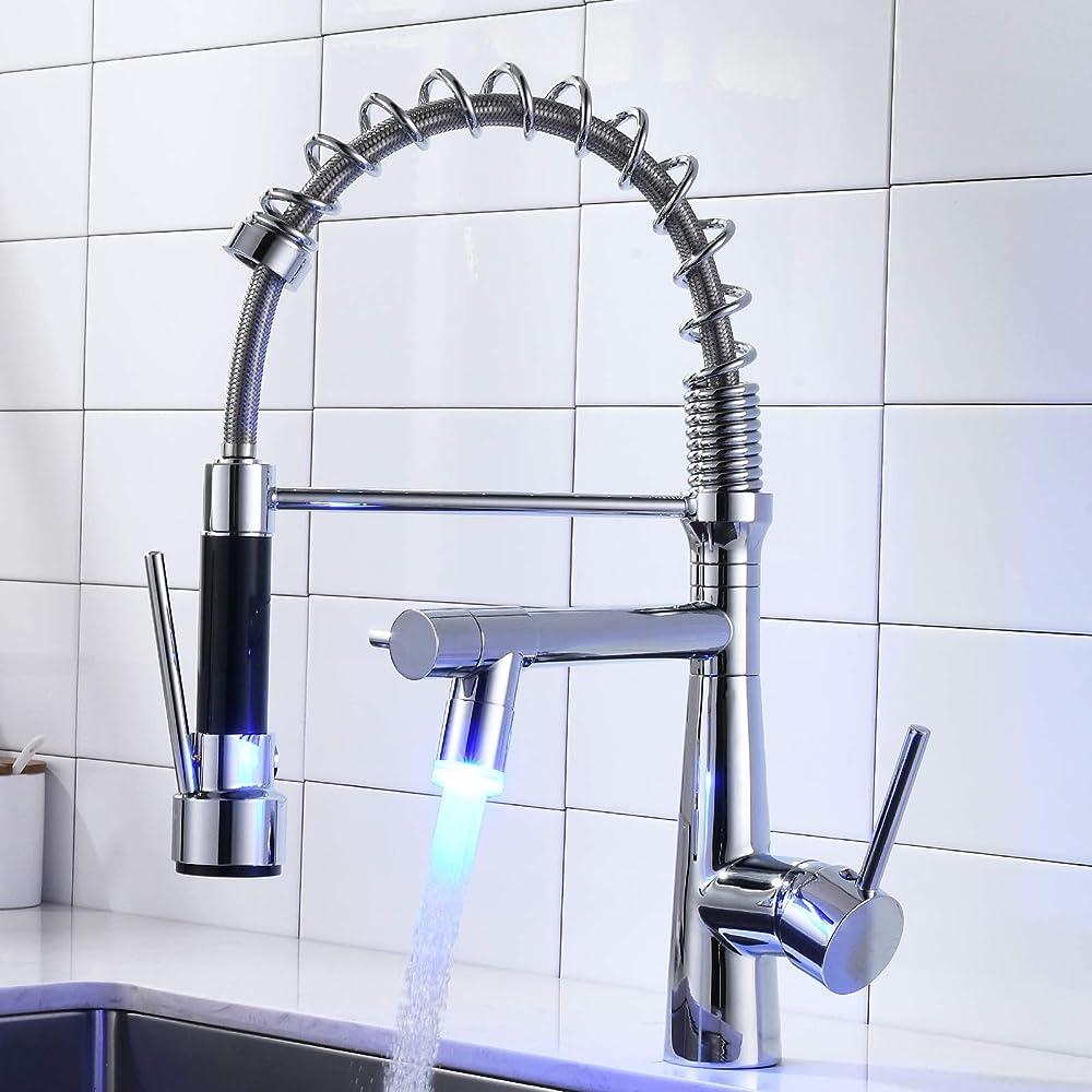 Timaco plumbing,  rubinetto da cucina zincato con led, in ottone, doccetta estraibile