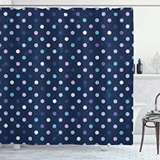 Ambesonne Navy Blue Decor Shower Curtain by, Cute Polka Dots 50s 60s Pattern for Nursery Room Spots Art Design, Fabric Bathroom Decor Set with Hooks, 70 Inches, Purple Blue and Navy