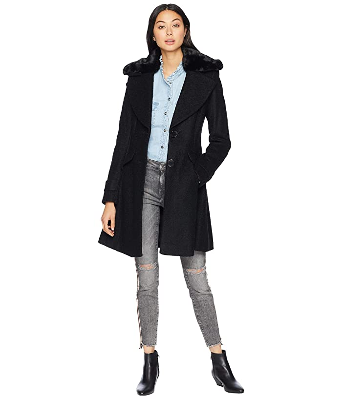 Sam Edelman Fit Flare Coat Faux (Black) Women
