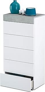 Habitdesign 0L7836A- Cómoda chinfonier 5 cajones, Acabado en Blanco Artik y Gris Cemento, Medidas: 61 x 118 x 40 cm de Fondo