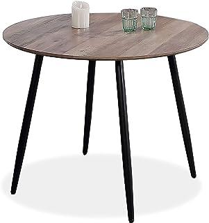 Adec - Suecia Mesa de Comedor Redonda Mesa de salón acabada en Color Nogal y Patas Negras Medidas: 100 cm (Diámetro) x ...