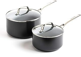 GreenPan Valencia Pro Induction Safe Healthy Ceramic Nonstick Saucepan Set, 2QT and 3QT, Gray