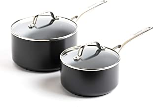 GreenPan Valencia Pro Induction Safe Healthy Ceramic Nonstick Saucepan Set, 2QT and 3QT, Gray