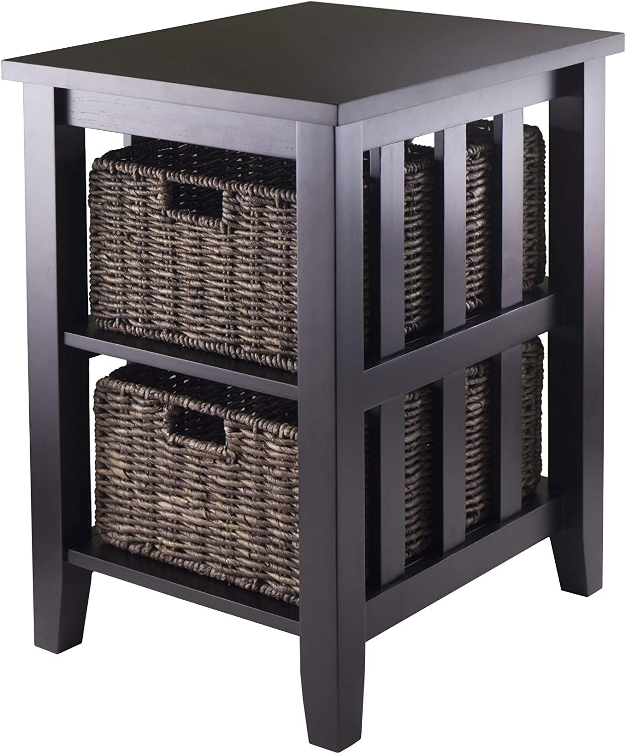 Winsome Wood Morris Side Table with 2-Foldable Basket