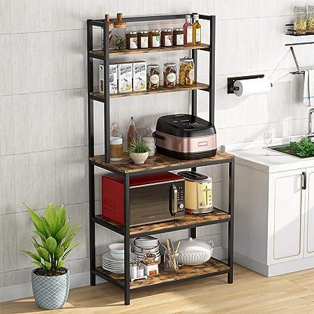 Support de four à micro-ondes de cuisine support de four à micro-ondes ustensiles de cuisine étagère de rangement utilitaire de cuisine organisateur industriel à 5 niveaux sur pied par Tribesigns