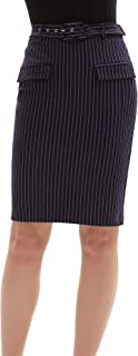 Pencil Skirts for Womens Bodycon Wear to Work Striped Skirts with Belted