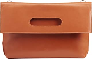 DUDU Borsa a Tracolla Artigianale Donna in Vera Pelle Made in Italy Pieghevole con Cinghia Staccabile Tangerine
