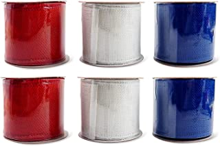 Patriotic Assortment (Pack of 6) Burlap Wired Red White Blue Fabric 2 1/2 Inch Wide Ribbon Rolls - Each 6 Yards Long (Solid Burlap) 108 Feet Total Length