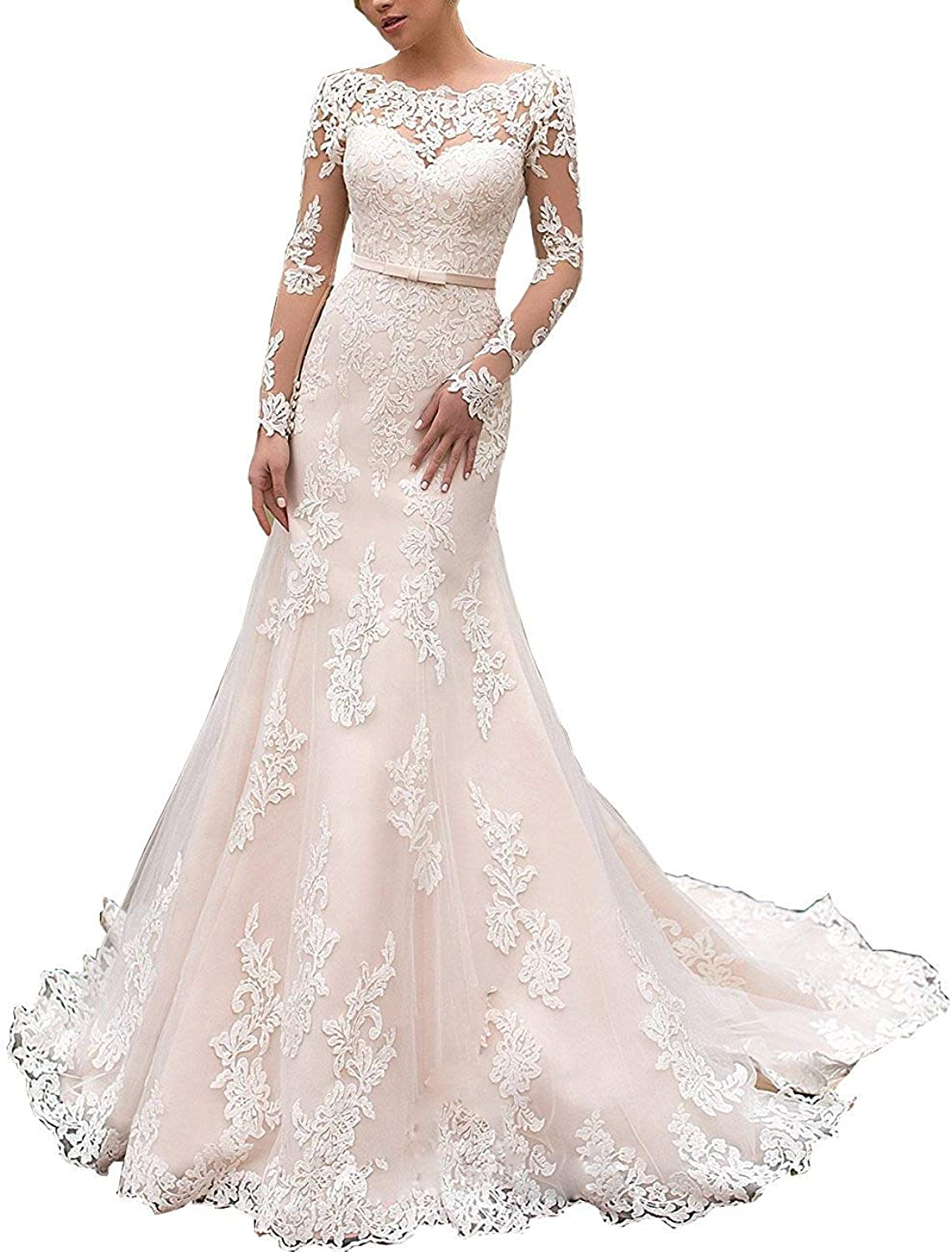 Alexzendra Mermaid Wedding Dress for Bride Scoop Neck Long Sleeves Bride Dress Plus Size
