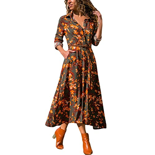19e739b30e Dearlove Womens Button up Floral Print Flowy Bohemian Long Maxi Dress with  Belted