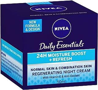 NIVEA Daily Essentials 24 Hour Moisture Boost + Refreshing, Regenerating, Moisturisinng Night Face Cream with Vitamin E & Anti-Oxidants for Normal & Combination Skin  50ml