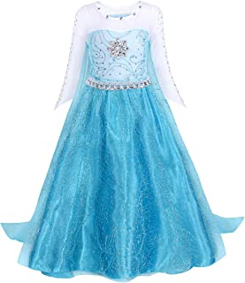 Cotrio Elsa Costume for Girls Halloween Party Fancy Dress Princess Dresses with Accessories
