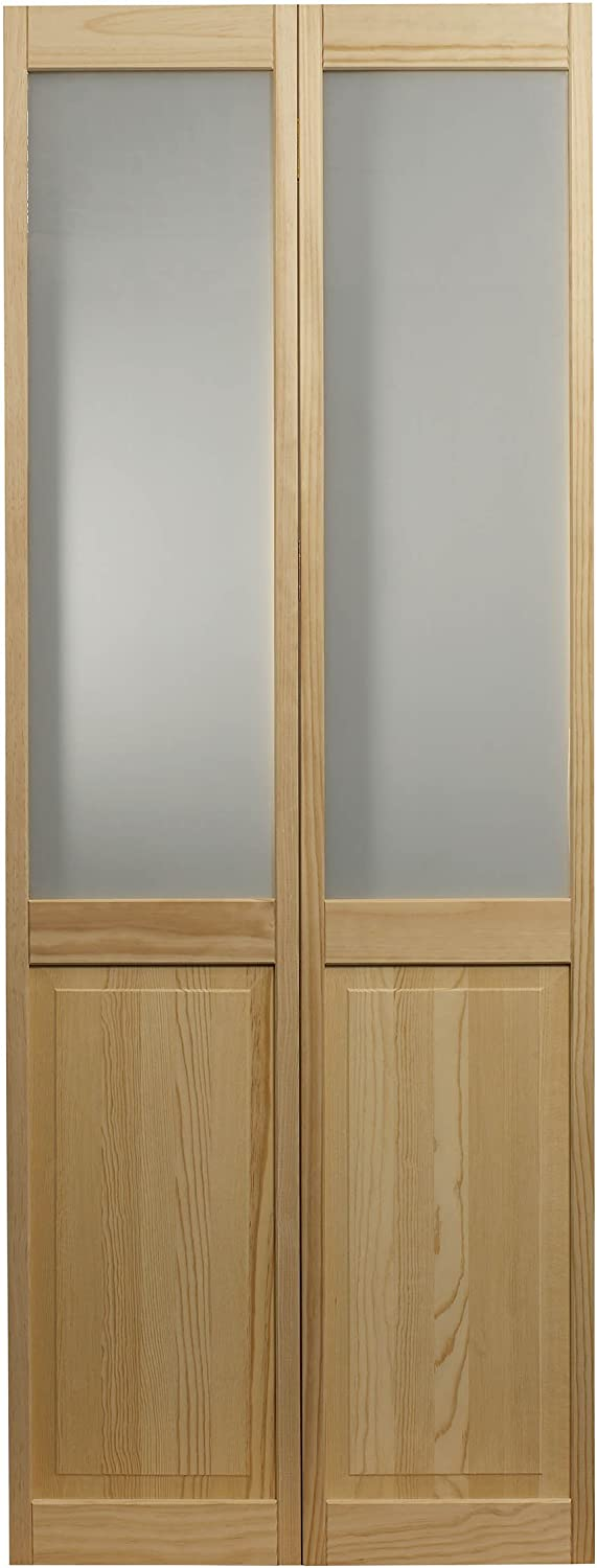 LTL Home Products 895728 New mail order Frosted Bifold Half Glass Omaha Mall Wood Interior