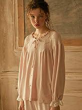 Dames Pyjama Set,Herfst Mode Zachte Katoenen Dames Lange Mouw Nachtkleding Sets Vintage Prinses Nachtkleding Roze Zoete Py...