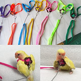 Seaskyer 1Pc Bird Harness and Leash for Parrot African Grey Cockatoo Macaw Ringneck Parakeet Cockatiel, Adjustable and Anti Bite Flying Band Design