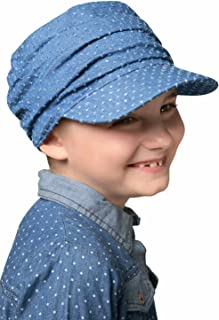Cardani Kids Denim Eyelet Tenley Newsboy Hat | Girls Chemo & Alopecia Hats Ultra Petite Sized Denim Eyelet