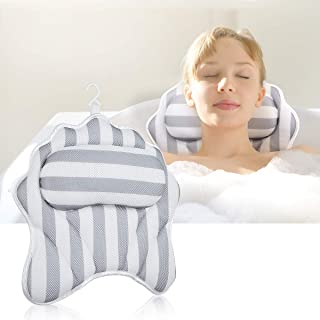 Bath Pillow with Neck & Back Support, Spa and Relaxation Bathtub Cushion with Strong Suction Cups, Luxury Bath Accessory, ...