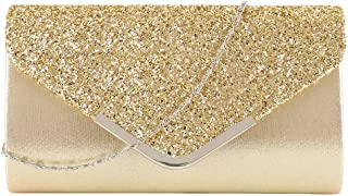 Womens Shiny Sequins Evening Clutch Envelope Handbag Chain Purse for Wedding Party Prom