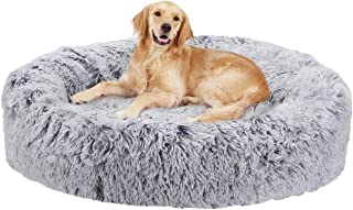 Bingopaw Dog Donut Bed, Fluffy Washable Pet Bed for Large Dogs with Soft Cushion Nesting Cave with Anti-Skip Bottom 90 x90...