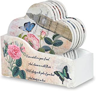 Coasters with Holder - Set of 6 Flower Shaped Coasters - Assorted Butterfly and Rose Designs - Each Coaster is Printed with a Unique European Vintage Theme