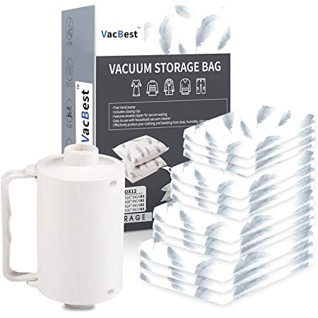 Vacbest Vacuum Storage Space Saver Bags 12 Combo 3 Small 3 Medium 3large 3 Jumbo With A Powerful Electric Pump For Travel And Household Usage Home Improvement