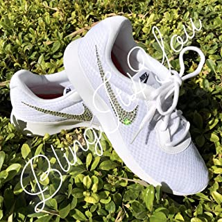 1334cac749b HANDMADE Beedazzled Swarovski crystal Bling Logo for White women Nike  Tanjun shoes