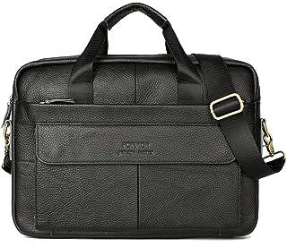 2020 Genuine Leather Men's Briefcase Vintage Business Computer Bag Messenger Bags Man Shoulder Bag Male Handbags Tote Portfolio (Color : Black, Size : -)