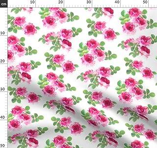 Rosa, Rosen, Vintage, Retro, Segeltuch, Blumen Stoffe - Individuell Bedruckt von Spoonflower - Design von Micklyn Gedruckt auf Leinen Baumwoll Canvas