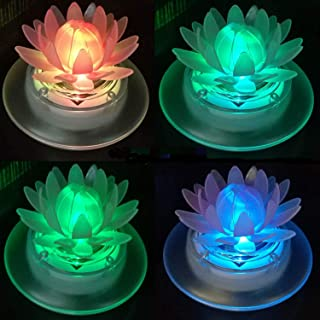 Obell Solar Floating Pool Lights Outdoor Pond Decoration Lighting Wireless Waterproof Color Changing LED Garden Lamp for Swimming Pool, Lily Pond, Birdbath, Home, Yard (Lotus-4pack)