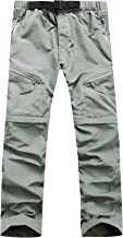 AIEOE Men's Quick Dry Pants Zipper-Off Convertible Trousers Hiking Camping Sports Pants with Elastic Waistband