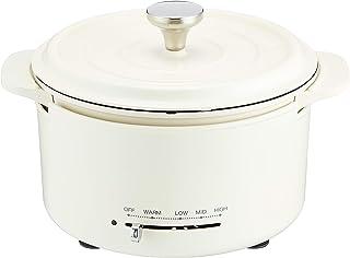 [山善] 電気鍋 IH直火対応 グリル鍋 マットホワイト EGD-D650(MW) [メーカー保証1年]