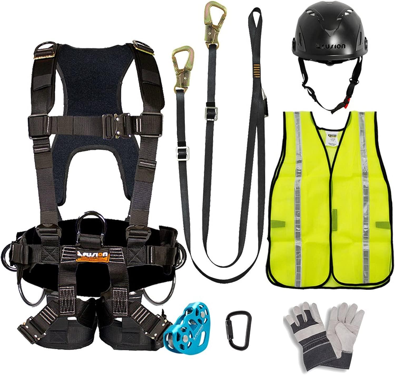 FUSION CLIMB プロ裏庭のジップラインキットハーネスストラップトロリーカラビナヘルメットベストグローブバンドルFK-A-HLTCHVG-12