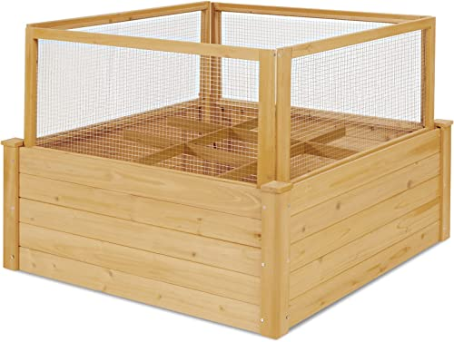 """high quality Giantex online sale Plant Raised Bed with Fence, Wood Garden Bed with Critter Guard Fence, 9 Grids Plant lowest Container, Outdoor Plant Box for Garden Patio Backyard Balcony (42"""" LX42 WX32.5 H) outlet sale"""