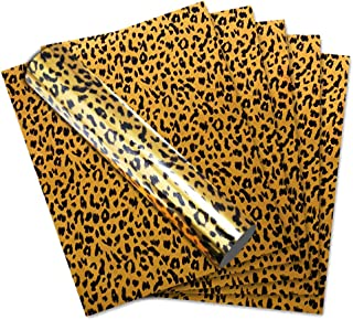 Animal Print Patterned Leopard Pattern Metallic Foil Heat Transfer Vinyl on T-Shirt,Iron on Vinyl,12 inch× 10 inch, Pack of 6 Sheets, Thick and Hard Surface and 3D Effect