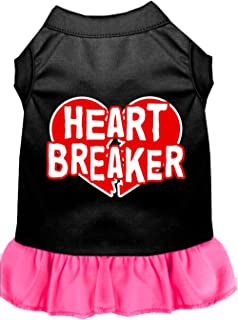 Mirage Pet Products 58-05 XXXLBPBPK Pink Heart Breaker Screen Print Dress Black with Bright, 3X-Large