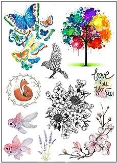 BESTPICKS Large Waterproof Fashion Temporary Tattoo Sticker - LOVE, TREE, FISH, BUTTERFLY, FLOWERS - 14.5 X 21 cm Sheet